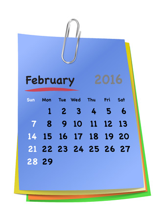 sundays: Calendar for february 2016 on colorful sticky notes attached with metallic clip. Sundays first. Vector illustration