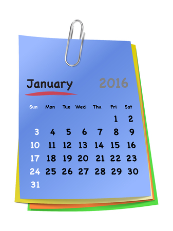 january 1: Calendar for january 2016 on colorful sticky notes attached with metallic clip. Sundays first. Vector illustration