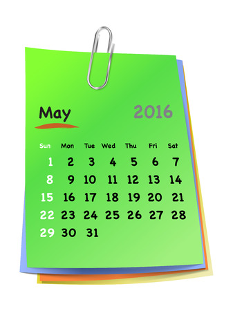 sundays: Calendar for may 2016 on colorful sticky notes attached with metallic clip. Sundays first. Vector illustration Illustration