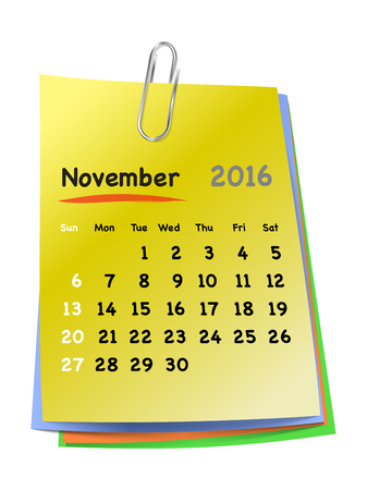 clinch: Calendar for november 2016 on colorful sticky notes attached with metallic clip. Sundays first. Vector illustration