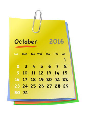 sundays: Calendar for october 2016 on colorful sticky notes attached with metallic clip. Sundays first. Vector illustration Illustration