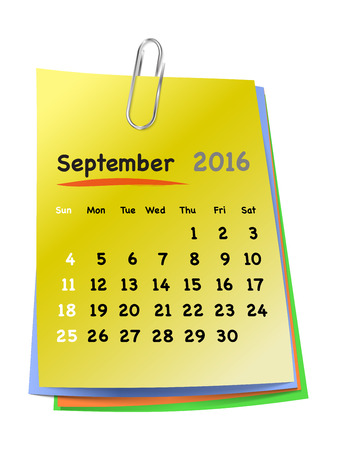 sundays: Calendar for september 2016 on colorful sticky notes attached with metallic clip. Sundays first. Vector illustration