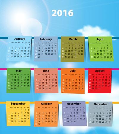 allegoric: Calendar for 2016 like laundry on the clothesline. Sundays first. Vector illustration
