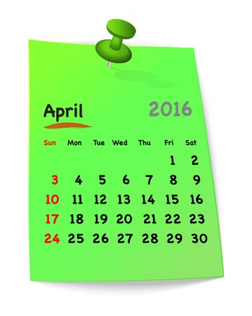 sundays: Calendar for april 2016 on green sticky note attached with green pin. Sundays first. Vector illustration