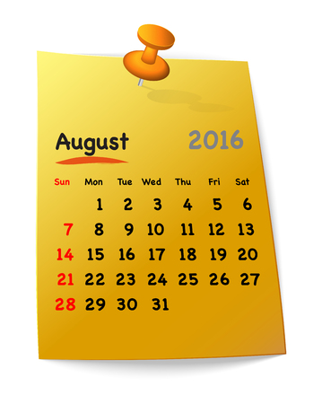 sundays: Calendar for august 2016 on orange sticky note attached with red pin. Sundays first. Vector illustration Illustration