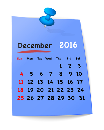 sundays: Calendar for december 2016 on blue sticky note attached with blue pin. Sundays first. Vector illustration