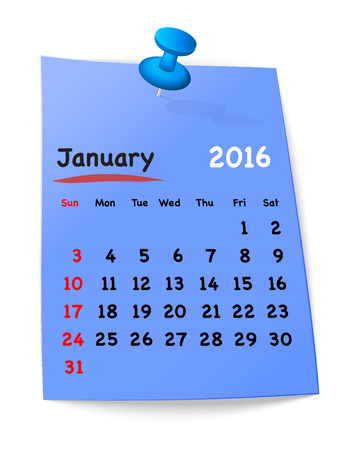 sundays: Calendar for january 2016 on blue sticky note attached with blue pin. Sundays first. Vector illustration
