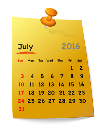 sundays: Calendar for july 2016 on orange sticky note attached with red pin. Sundays first. Vector illustration