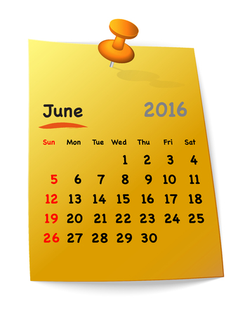 sundays: Calendar for june 2016 on orange sticky note attached with red pin. Sundays first. Vector illustration