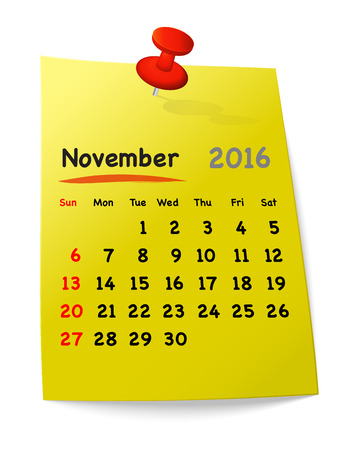 sundays: Calendar for november 2016 on yellow sticky note attached with orange pin. Sundays first. Vector illustration Illustration