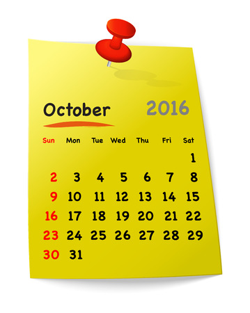 sundays: Calendar for october 2016 on yellow sticky note attached with orange pin. Sundays first. Vector illustration