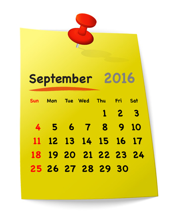 sundays: Calendar for september 2016 on yellow sticky note attached with orange pin. Sundays first. Vector illustration Illustration