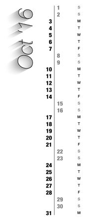 other space: Monthly calendar for October 2016 with vertical digits, grey holidays and empty space for special notes, records. Can be used for business and office calendars, website design, prints and many other situations. Vector Illustration