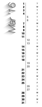 other space: Monthly calendar for March 2016 with vertical digits, grey holidays and empty space for special notes, records. Can be used for business and office calendars, website design, prints and many other situations. Vector Illustration