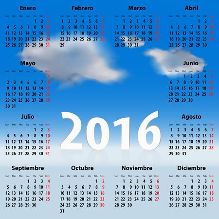 mondays: Calendar for 2016 year with clouds in the blue sky. Weekdays names in Spanish. Mondays first. Vector illustration