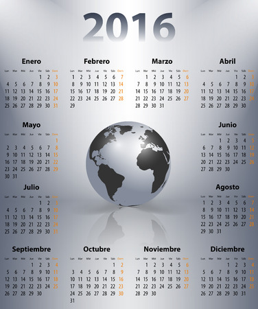 mondays: Calendar for 2016 year in Spanish with the world globe in a spots. Mondays first. Vector illustration