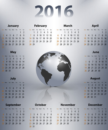 sundays: English business calendar for 2016 year with the world globe in a spot. Sundays first. Vector illustration