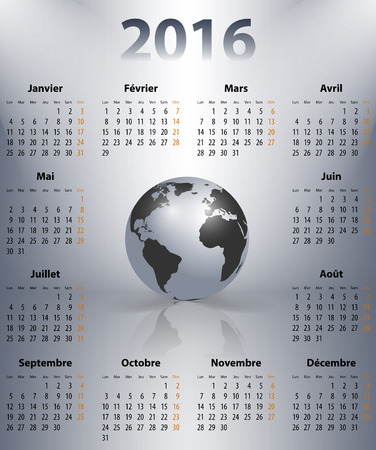 sundays: French business calendar for 2016 year with the world globe in a spot. Sundays first. Vector illustration Illustration