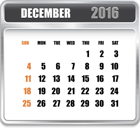 december holidays: Monthly calendar for December 2016 on metallic plate, orange holidays. Can be used for business and office calendars, website design, prints etc. Vector Illustration