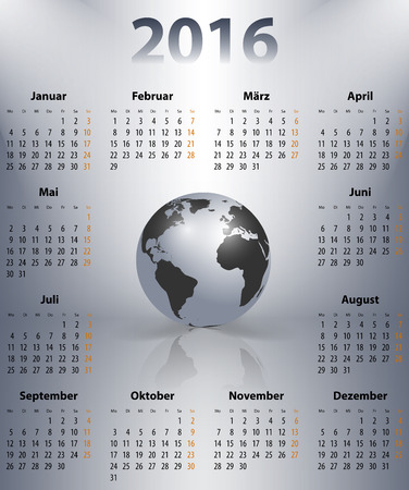 mondays: German business calendar for 2016 year with the world globe in a spot. Mondays first. Vector illustration Illustration