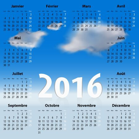 mondays: French Calendar for 2016 year with clouds in the blue sky. Mondays first. Vector illustration