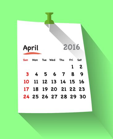 sundays: Flat design calendar for april 2016 on sticky note attached with green pin. Sundays first. Vector illustration Illustration