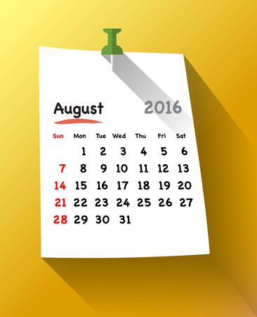 organiser: Flat design calendar for august 2016 on sticky note attached with green pin. Sundays first. Vector illustration