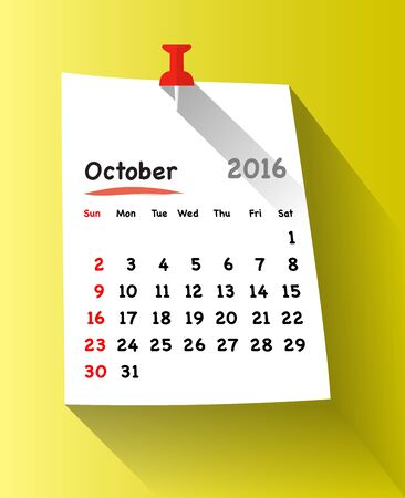 sundays: Flat design calendar for october 2016 on sticky note attached with red pin. Sundays first. Vector illustration