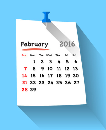 sundays: Flat design calendar for february 2016 on sticky note attached with blue pin. Sundays first. Vector illustration