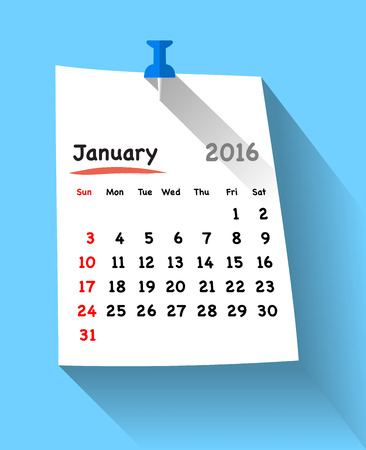 sundays: Flat design calendar for january 2016 on sticky note attached with blue pin. Sundays first. Vector illustration Illustration