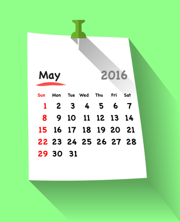 sundays: Flat design calendar for may 2016 on sticky note attached with green pin. Sundays first. Vector illustration