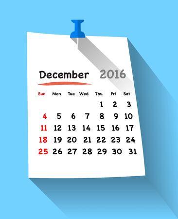 sundays: Flat design calendar for december 2016 on sticky note attached with blue pin. Sundays first. Vector illustration