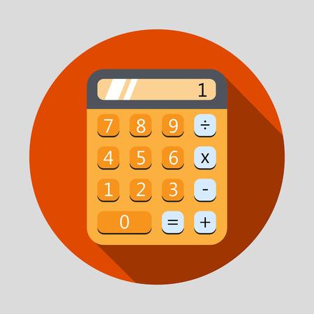 Calculadora icono de diseño plano con una larga sombra. Ilustración vectorial