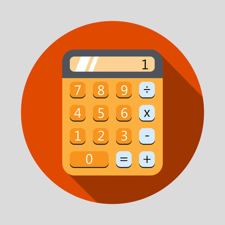 icon red: Calculator flat design icon with long shadow. Vector illustration
