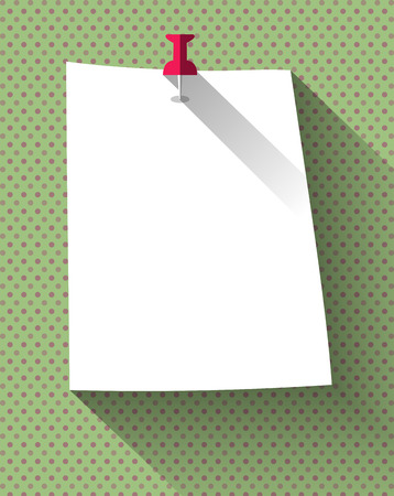 sticky note: Flat design white sticky note paper attached with red pin on dots pattern background.