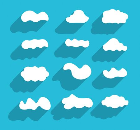 cloudscapes: Flat design hand-drawn cloudscapes collection. Flat long shadows.  Illustration
