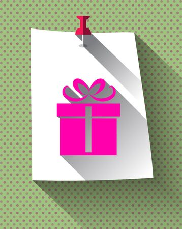 sticky note: Pink Gift box sign with long shadow on sticky note paper attached with red pin on dots pattern background.  Illustration