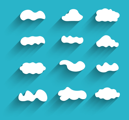 cloudscapes: Flat design hand-drawn cloudscapes collection. Long shadows.