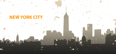 design background: New York cityscape on grunge background.  Illustration