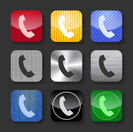phone handset: Cornetta del telefono segno sul lucido e metallico arrotondato icone quadrate
