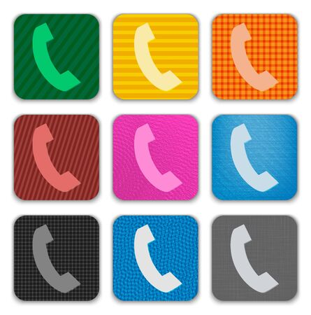 touch: Phone Handset sign on colorful textured app icons. Vector illustration
