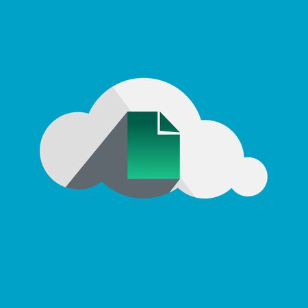 somewhere: Document in Cloud flat design icon. Vector illustration