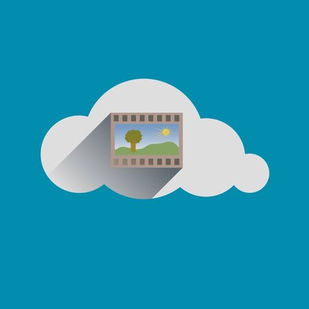 telecommunications technology: Image in Cloud flat design icon. Vector illustration