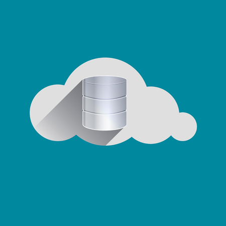 attachement: Storage drives sign in Cloud flat design icon. Cloud computing concept. Vector illustration