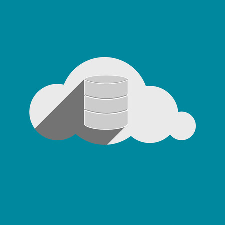 somewhere: Storage drives sign in Cloud flat design icon. Cloud computing concept. Vector illustration