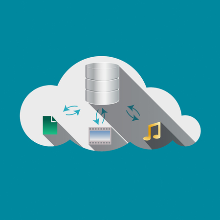 drives: Cloud computing concept. Storage drives, music and photos signs in Cloud flat design icon. Vector illustration