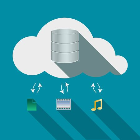 somewhere: Cloud computing concept. Storage drives, music notes, photo and documents signs in Cloud flat design icon. Vector illustration