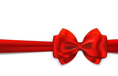luxurious: Red gift ribbon with luxurious bow isolated on white background. Vector illustration