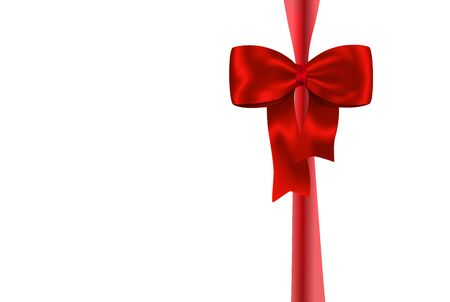 red ribbon bow: Red gift ribbon with luxurious bow isolated on white background. Vector illustration