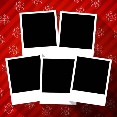 deisgn: Winter holidays flat design card with blank photo frames on red snowy background. Vector illustration